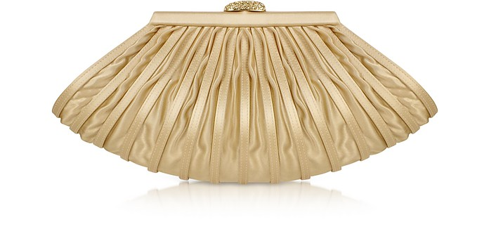 Light Gold Pleated Satin Evening Clutch  - Rodo