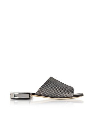 RODO Designer Shoes, Suede and Lurex Flat Mules