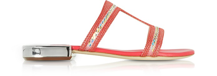 Poppy Suede and Lurex Flat Sandals w/Crystals - Rodo
