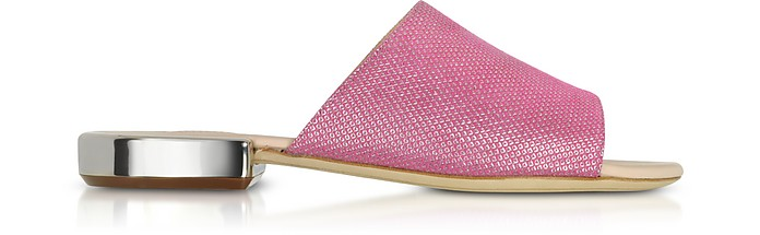 RODO PINK SUEDE AND LUREX FLAT MULES