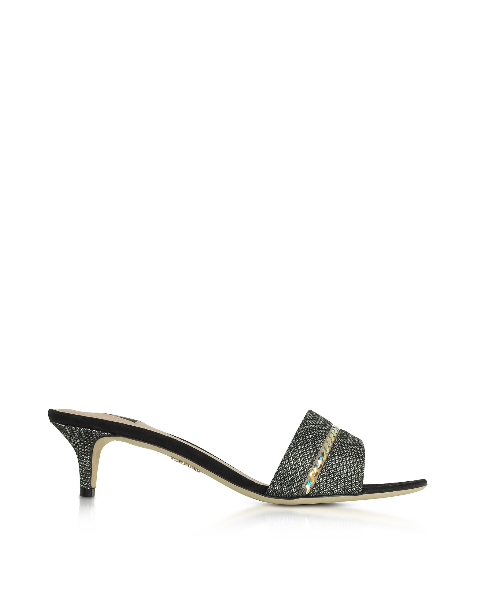 RODO Designer Shoes, Suede and Lurex Mid-Heel Sandals