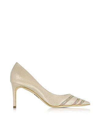 RODO Designer Shoes, Sahara Suede and Lurex Pumps w/Crystals