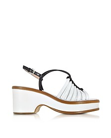 Black and White Braided Leather Wedge Sandals - Rodo