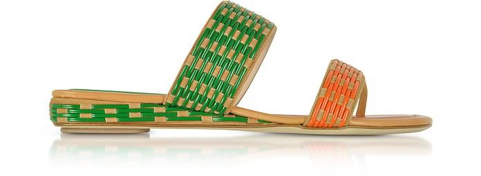 Mustard Suede Flat Slide Sandals - Rodo