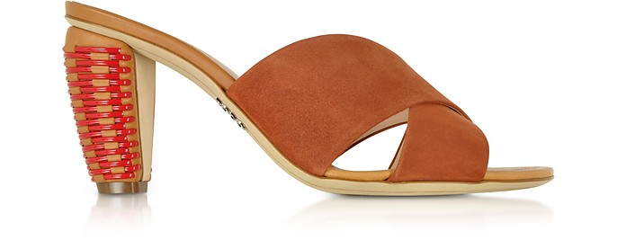 Brown Suede 8MM Criss-Cross Slide Sandals - Rodo