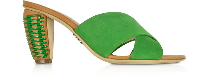 Bright Green Suede 8MM Criss-Cross Slide Sandals - Rodo