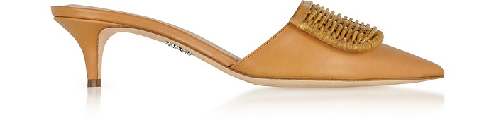 Brown Leather & Natural Wicker Mules - Rodo