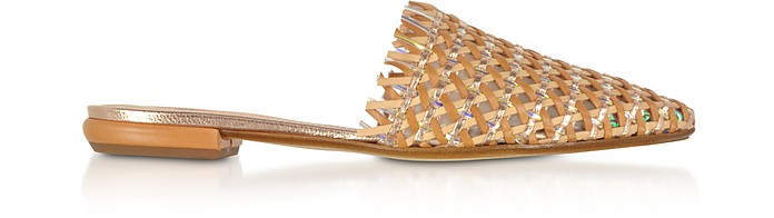 Brown and Rose Gold Woven Leather Flat Mules - Rodo