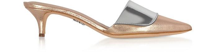 Rose Gold & Silver Laminated Leather Kitten Heel Mules - Rodo