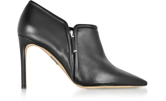 Black Leather High Heel Booties - Rodo