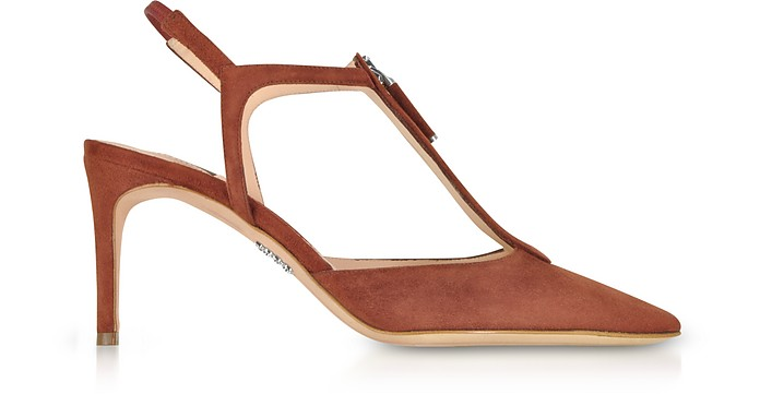 Brown Suede High Heel Zip Sandals - Rodo