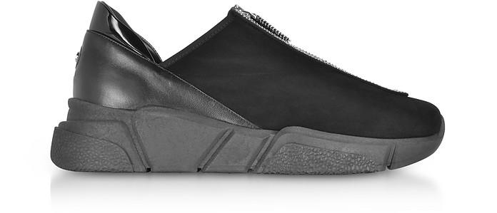 Sneakers Basses Femme en Suède Noir - Rodo
