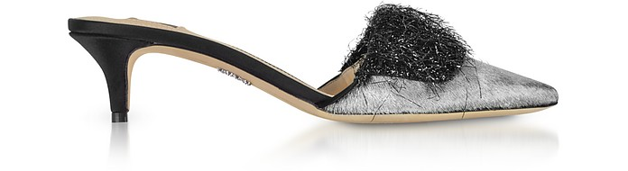 Silver Hair-calf and Black Facric Kitten-Heel Mules - Rodo