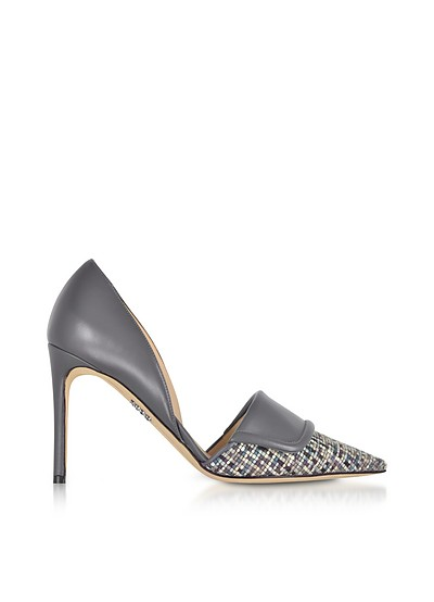 Leather and Tweed High Heel Pumps - Rodo