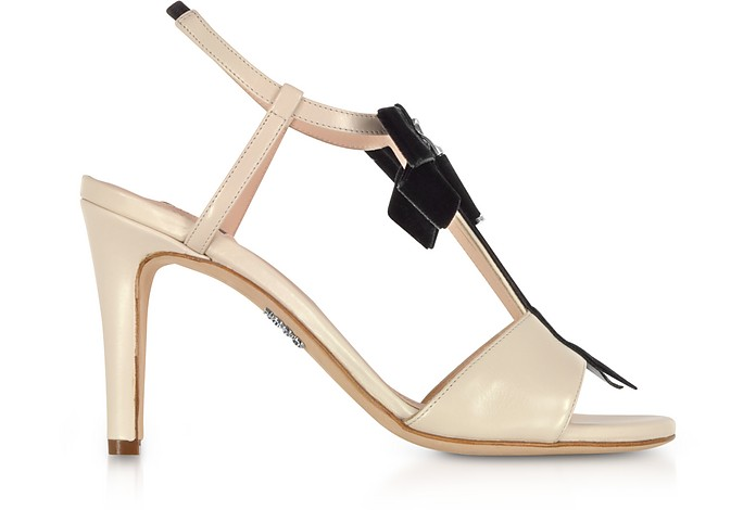 Ivory Leather Zip Sandals w/Velvet Bow - Rodo