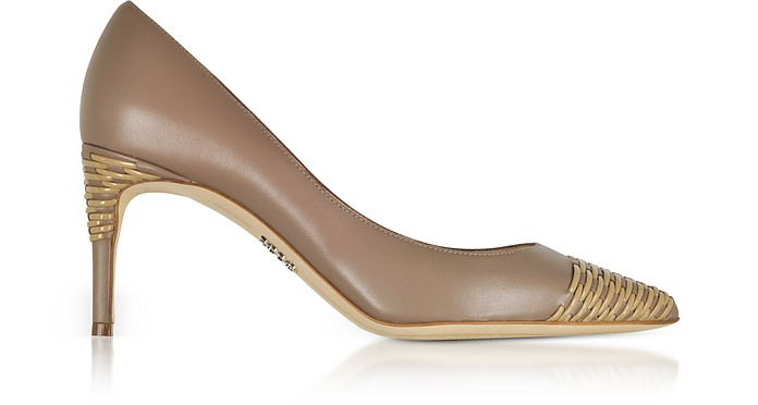 Taupe Smooth and Woven Leather Pointed Toe Heel Pumps - Rodo