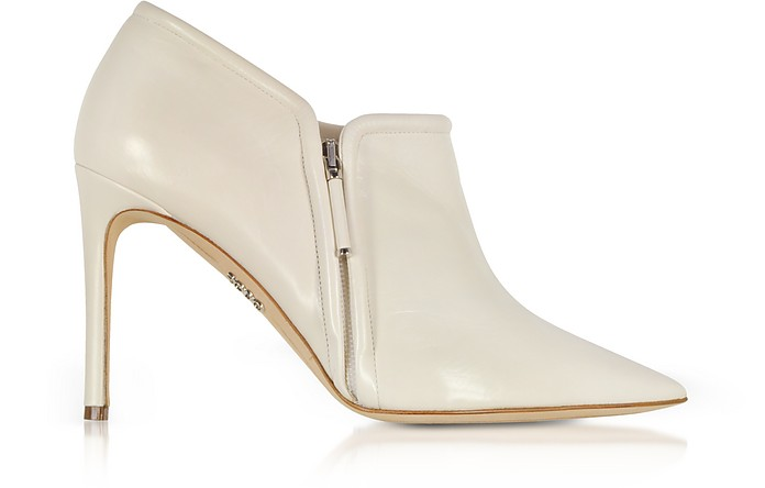 Ivory Leather High Heel Booties  - Rodo