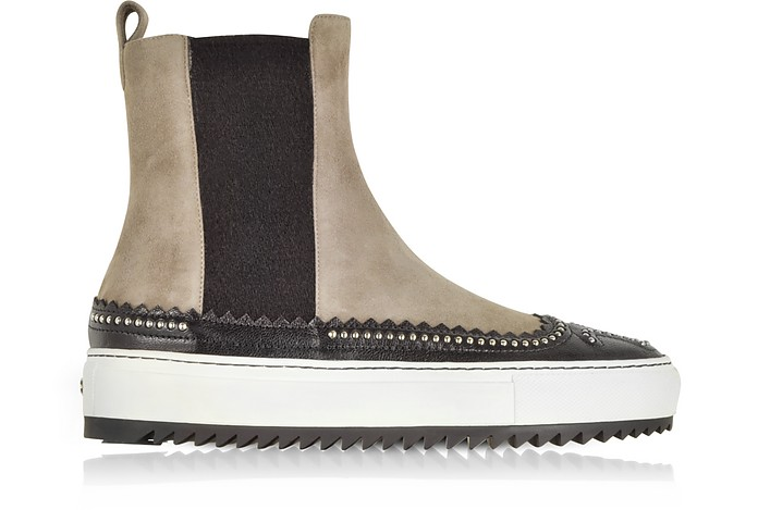 Taupe Suede and Black Leather High Top Sneakers w/Studs - Rodo
