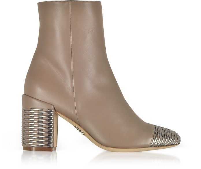 Taupe and Silver Woven Leather Heel Booties - Rodo