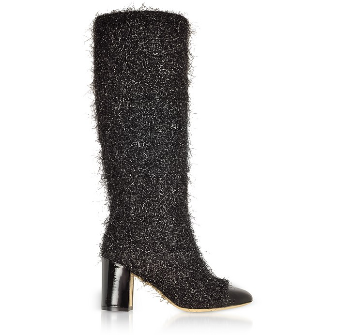 Black Tinsel Fabric and Patent Leather Heel Boots - Rodo