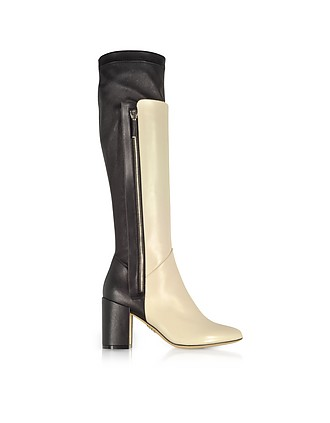 4a9a5c7c410 Ivory and Black Leather Heel Over The Knee Boots - Rodo