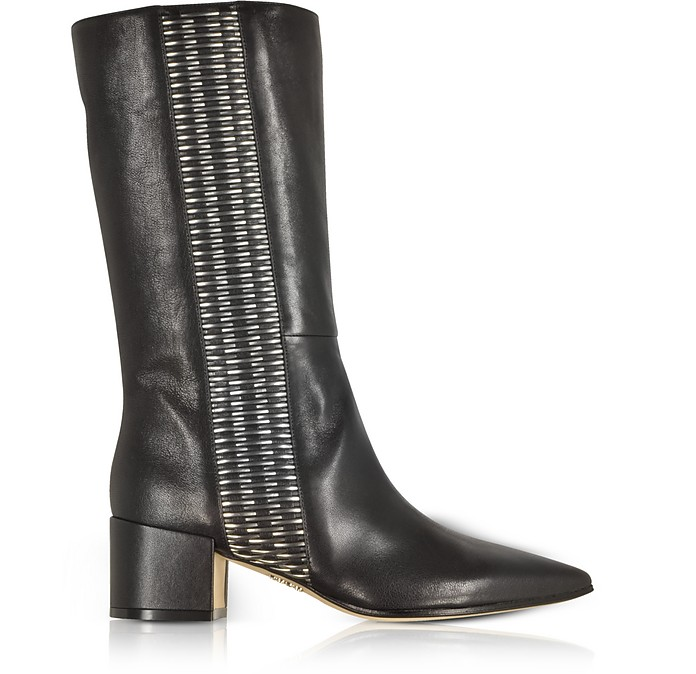 Black and Silver Woven Leather Pointed Toe Mid Heel Boots - Rodo