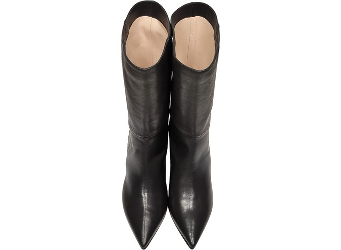 dc35490eea6 Black and Silver Woven Leather Pointed Toe Mid Heel Boots - Rodo.  434.00   868.00 Actual transaction amount