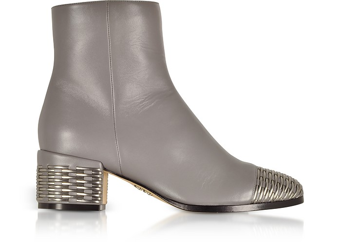 Gray and Silver Woven Leather Mid Heel Booties - Rodo