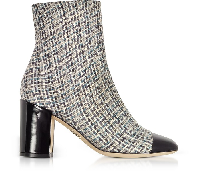 Tweed and Black Patent Leather Heel Booties - Rodo