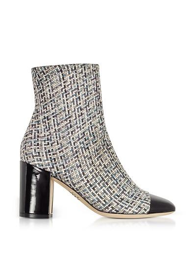 Tweed and Black Patent Leather Heel Booties - Rodo