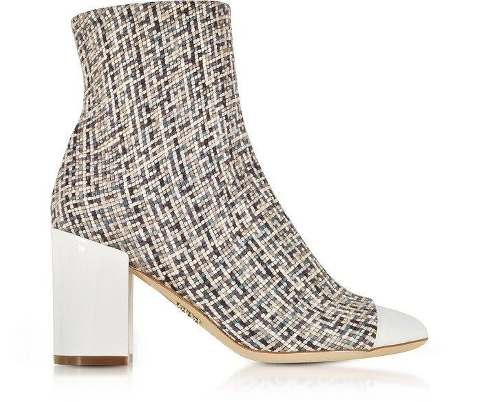 Tweed and White Patent Leather Heel Booties - Rodo
