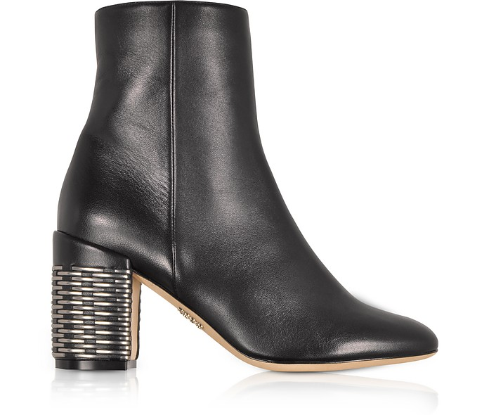 Black Leather Booties w/Silver Woven Leather Heel - Rodo