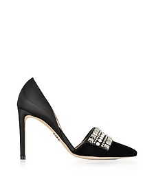 Embellished Black Velvet and Satin High Heel Pumps - Rodo