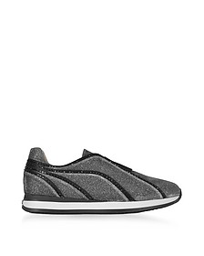 Silver and Black Lurex Slip On Sneakers w/Black Studs - Rodo
