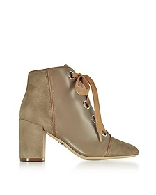 Taupe Leather and Suede Lace up Bootie - Rodo