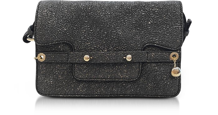 Gunmetal Crackled Metallic Leather Flap Top Crossbody Bag - RED Valentino / レッド ヴァレンティノ