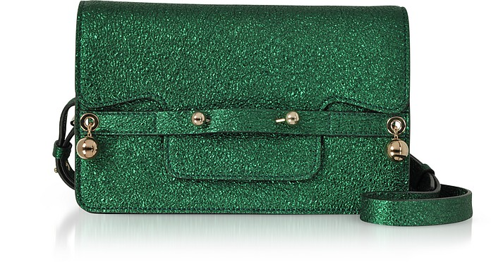Dark Green Crackled Metallic Leather Flap Top Crossbody Bag - RED Valentino