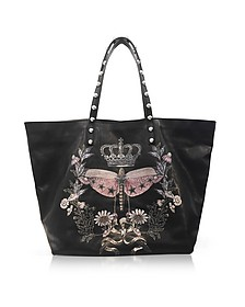 Black Printed Leather Tote Bag w/Studs - RED Valentino