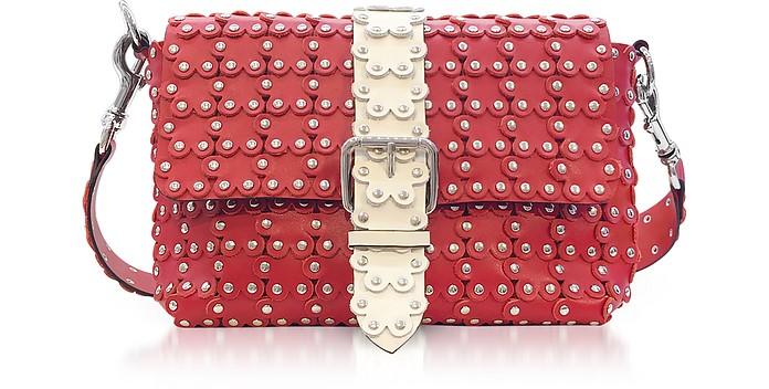 Strawberry/Ivory Studded Leather Puzzle Shoulder Bag - RED Valentino