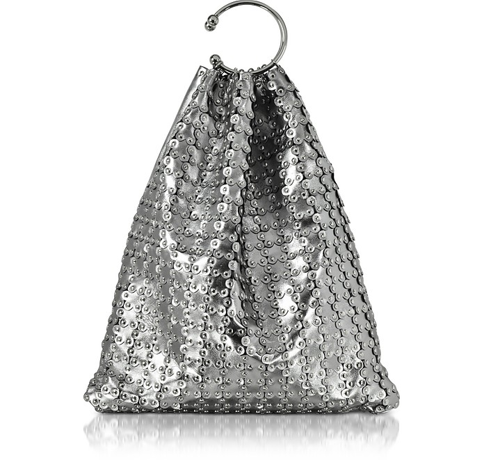 Platinum Studded Metallic Leather Clutch - RED Valentino