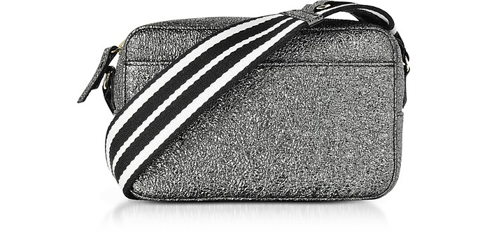Gunmetal Crackled Metallic Leather Crossbody Bag w/Striped Canvas Strap - RED Valentino