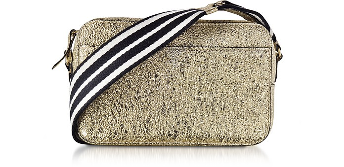Platinum Crackled Metallic Leather Crossbody Bag w/Striped Canvas Strap - RED Valentino