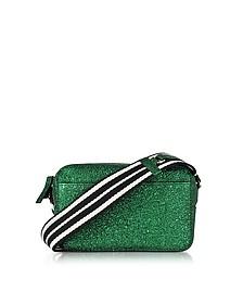 Dark Green Crackled Metallic Leather Crossbody Bag w/Striped Canvas Strap - RED VALENTINO