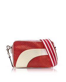 Strawberry/Milk White Perforated Leather Crossbody Bag w/Studs - RED Valentino