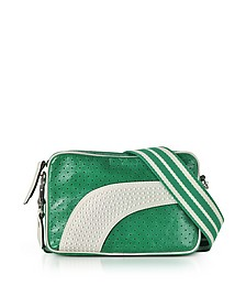 Mint Green/Milk White Perforated Leather Crossbody Bag w/Studs - RED Valentino