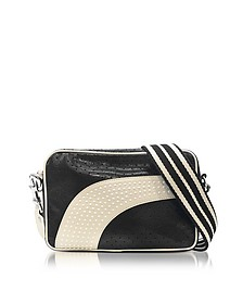 Black/Milk White Perforated Leather Crossbody Bag w/Studs - RED Valentino
