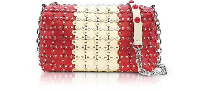 Strawberry/Ivory Studded Leather Shoulder Bag - RED Valentino