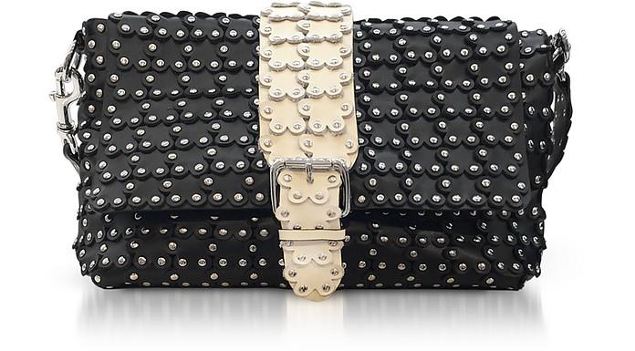 Black/Ivory Studded Leather Flap Top Shoulder Bag - RED Valentino