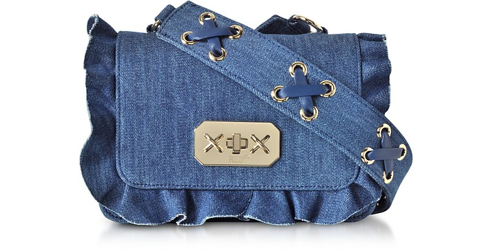 Blue Denim Small  Ruffle Shoulder Bag - RED Valentino