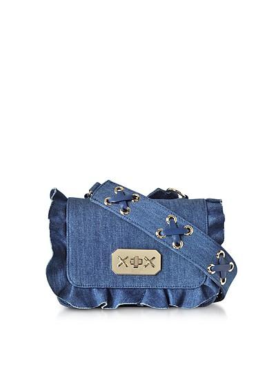 Blue Denim Small  Ruffle Shoulder Bag - RED Valentino